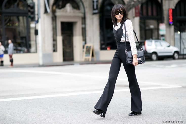 jumpsuit, heels, los angeles blogger, line and dot clothing, bangs, brunette, lace top,