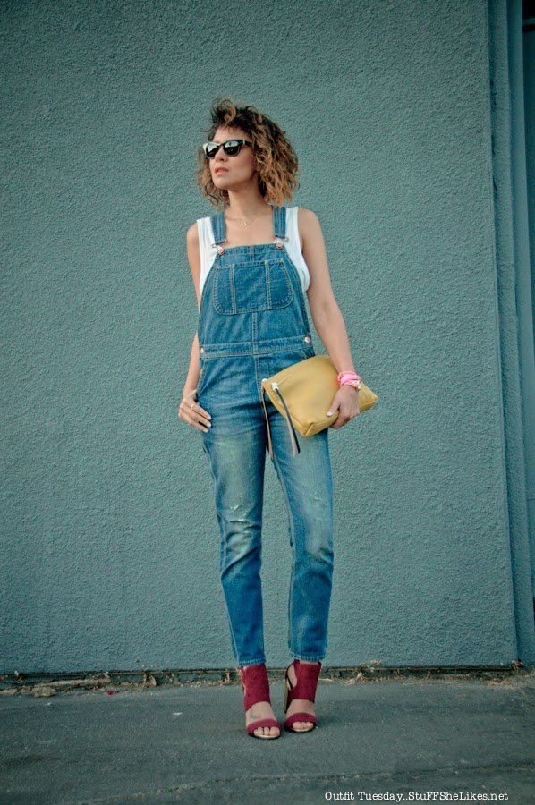 denim, black blogger, overalls, color, white tank, alexander wang. Topshop, yellow clutch, warby parker, stuff she likes, taye hansberry