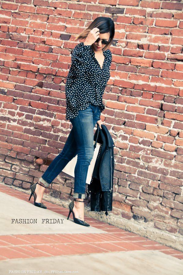 Zara, polka dots, Blogger, Fashion Blog, Top Fashion Blogger, best fashion blog, Taye Hansberry, Stuff She Likes,  Black Fashion Blogger, Ethnic Fashion blog, Los Angeles Fashion Blogger, Lifestyle Blog, Jeans, Leather Jacket, How to wear a leather jacket, jacket worn on shoulders, Short hair, Ombre hair, Bob haircute