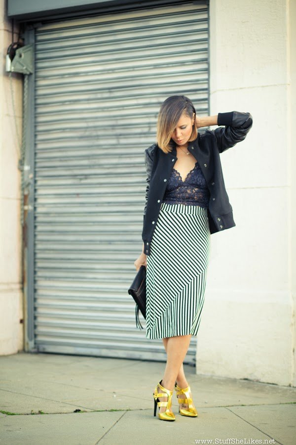 day to night, top fashion blog, best fashion blog, black blogger, ethnic blog, fashion blog, zara lace tank, zara lace camisole, zara lace top, stripes, how to wear stripes, shoe dazzle, metallic,