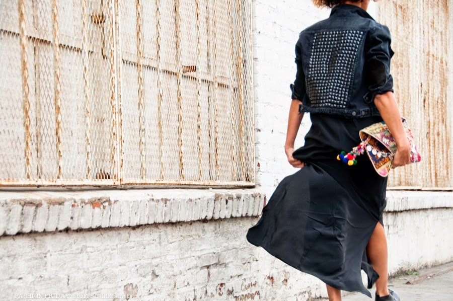 top fashion blogger, best fashion blogger, top 10 fashion bloggers, black fashion blogger,  Demin Jacket, silk slip dress, stacked heels, stacked booties