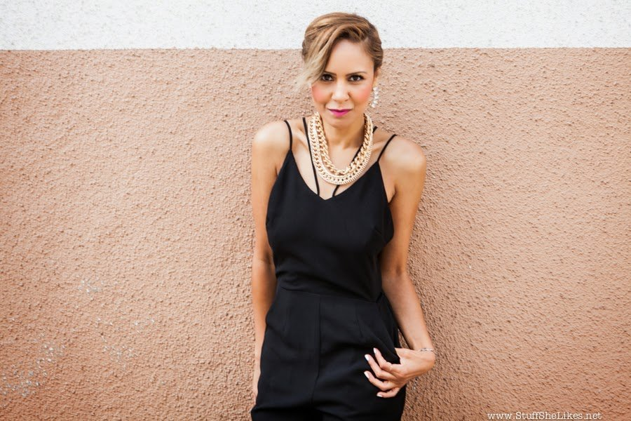 lulus, jumpsuit, taye hansberry, top ten fashion bloggers, fashion blogger, blogger, best fashion blogger, Black jumpsuit, Call it spring, gold chain necklace, jewelmint, shoemint, shoe dazzle, KTLA News, Summer Trends