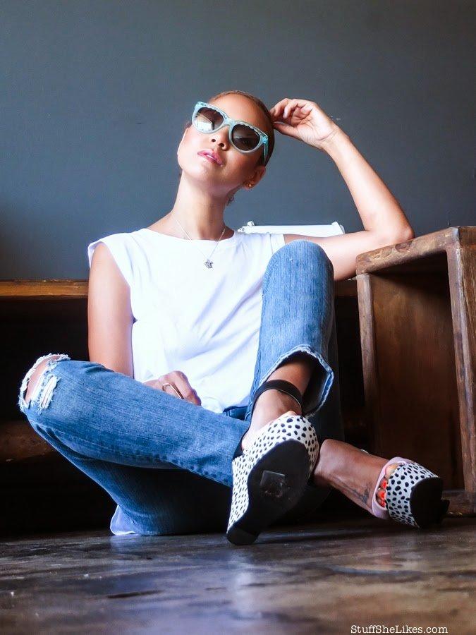 michael Stars, goldsign jeans, distressed denim, shoe dazzle, wedges, charlotte ronson, vogue eyewear, taye hansberry, style, blogger, top ten bloggers, best bloggers, best fashion bloggers, black fashion bloggers, ethnic fashion bloggers, zara