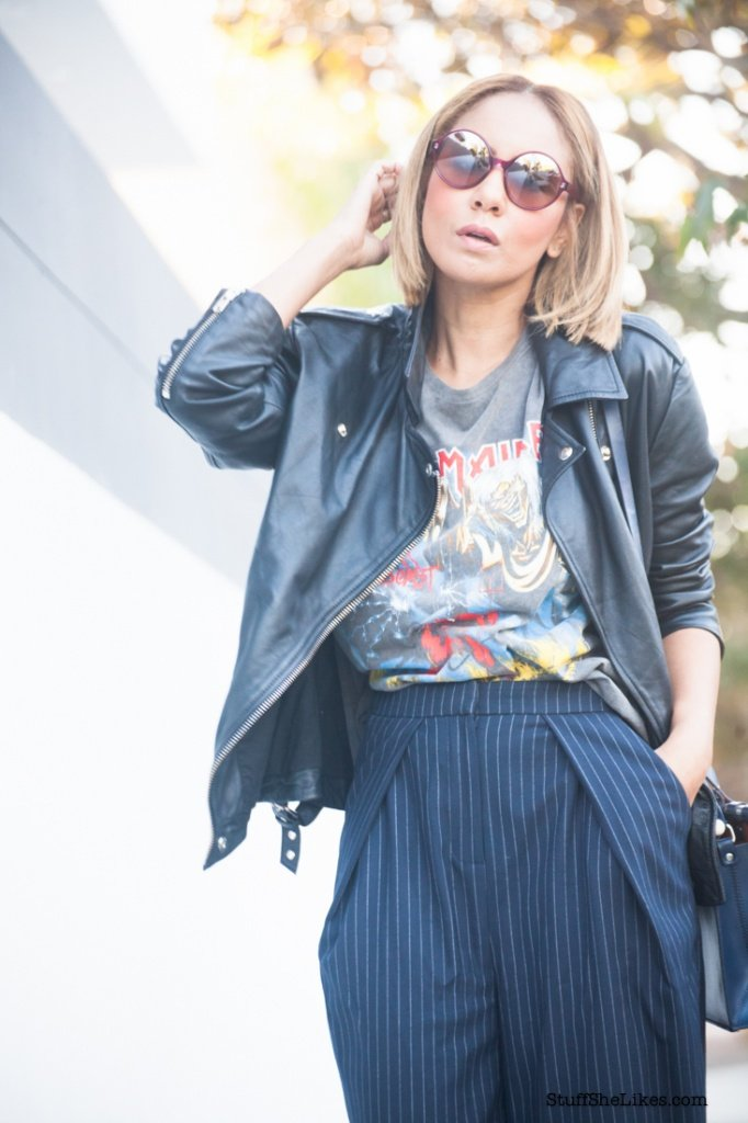 iron Madien, Iron madien tee, boyfirend leather jacket, topshop, oakNY, vogue eyewear, zara, top blogger, Los Angeles blogger, best blogger, ethinic blogger, blonde Blogger,