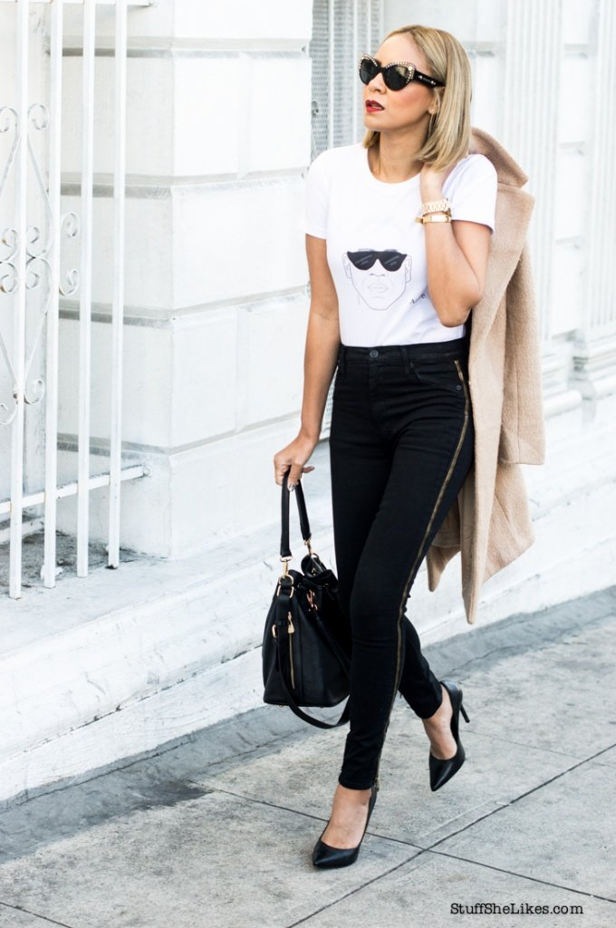 andre leon tally, The fashion Bomb Daily, Tee shirt and jeans, black pumps, forever 21 coat, blogger, top blogger, los angeles fashion blogger, versace sunglasses, hudson jeans, classic wardrobe, white tee