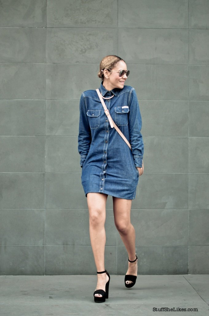 denim dress, stuffshelikes, vinatge denim dress, clavin klein, st scott london, rayban sunglasses, blogger, fashion blogger, best fashion bloggers, LA fashion bloggers, ethinic fashion blogger, ton ten fashion bloggers