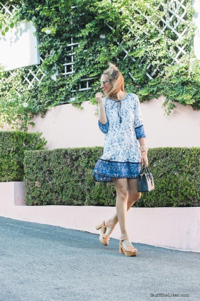 blogger, Fashion blogger, best fashion blogger, Bohemian dress, DVF sunglasses, MCM worldwide, Top knot hair, haf knot hair