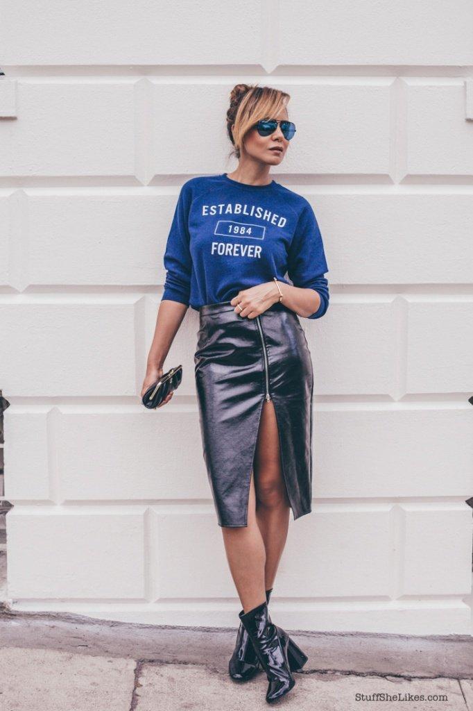 Forever 21, Blogger, fashion blogger, sweatshirt, leather skirt, vegan leather skirt