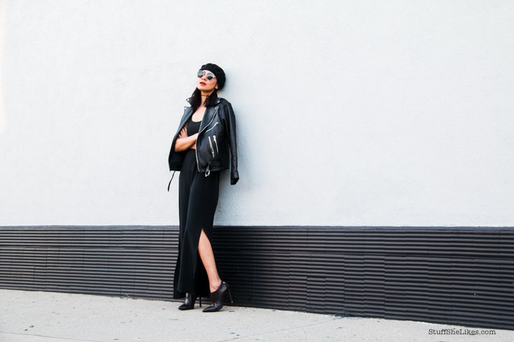 black dress, leather jacket, oversized leather jacket, wildfox sunglasses, round sunglasses