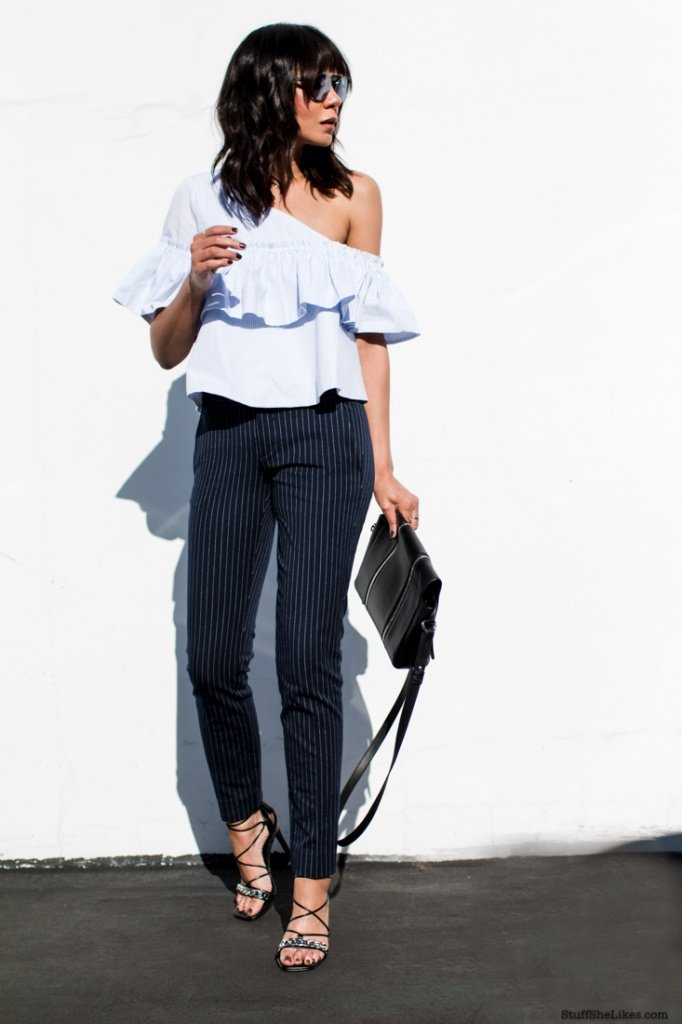 off the shouder top, pin stripes, trousers, Fashion blogger, Best fashion blogger, top fashion blogger, top 10 fashion bloggers,