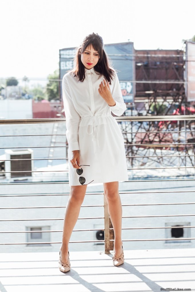 the outnet, white dress, summer dress, bangs, haircut with bangs, red lips, Nars red lipstick. alexander wang shoes, Fashion Blogger, blogger, top ten fashion bloggers, los Angeles fashion blogger