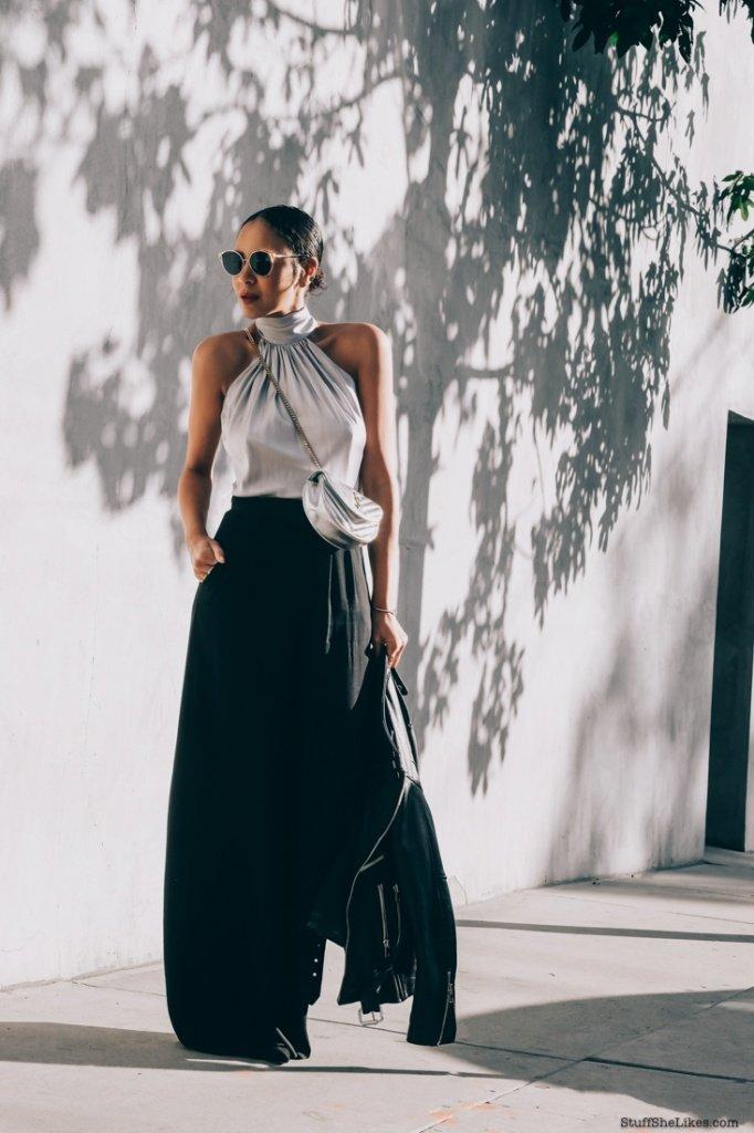 YSL, Ramy Brook, wide leg pants, silver top, Fashikon blogger, best fashion blogger, top fashion blogger, top LA fashion blogger