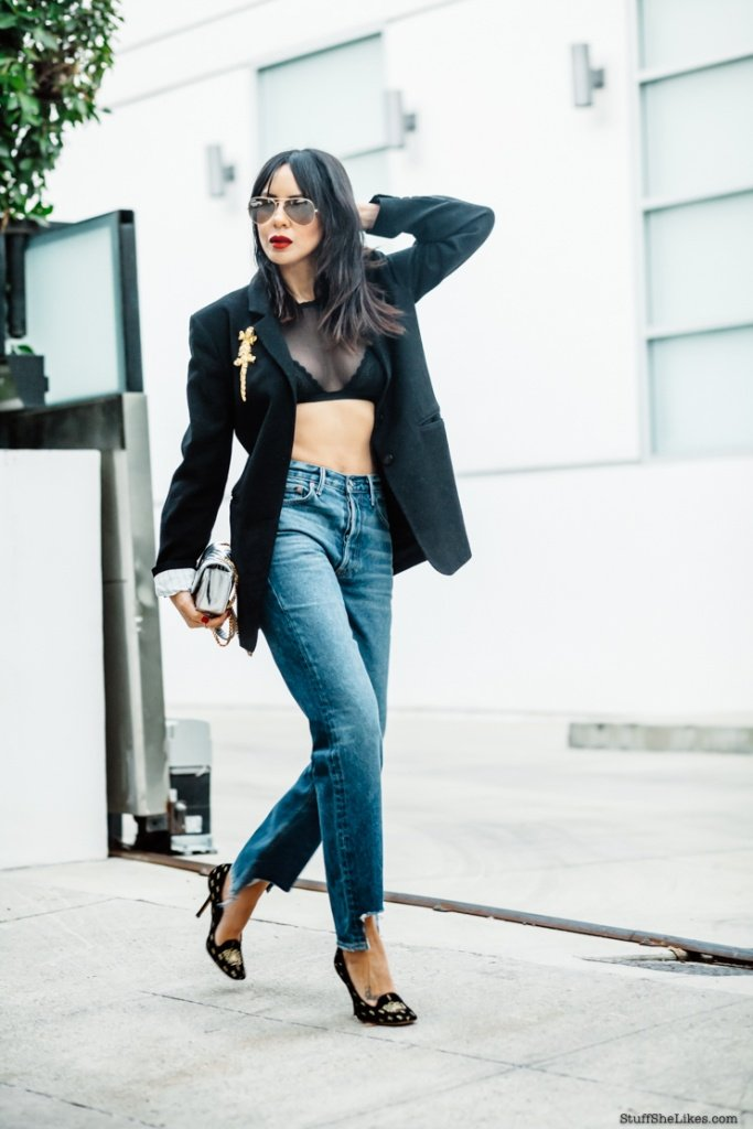 bra's, cosabella, sheer tops, sheer trend, mom jeans, fashion blogger, top fashion blogger, grlfrend jeans, girlfriend jeans, revolve, revolve clothing, high waist jeans, bangs, haircuts, best blogger haircuts, ysl bag, silver ysl bag, ysl shoes