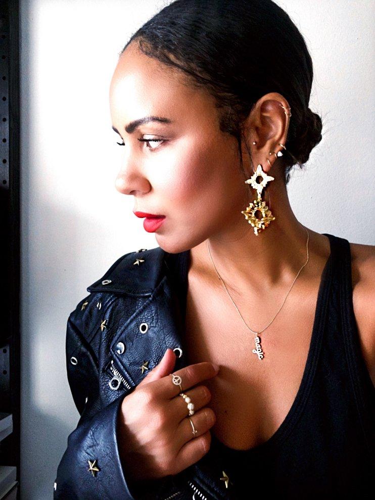 Nars, Laura Mercier, Nars velvet matte lipstick, Laura Mercier Bronzer. easy summer make up, big earrings,