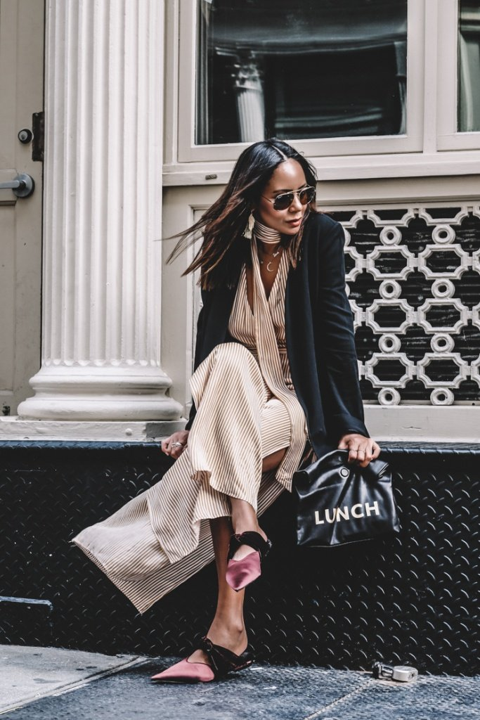 Fashion Blogger, Halston Black blazers, Stripe jumpsuits,  New raybans