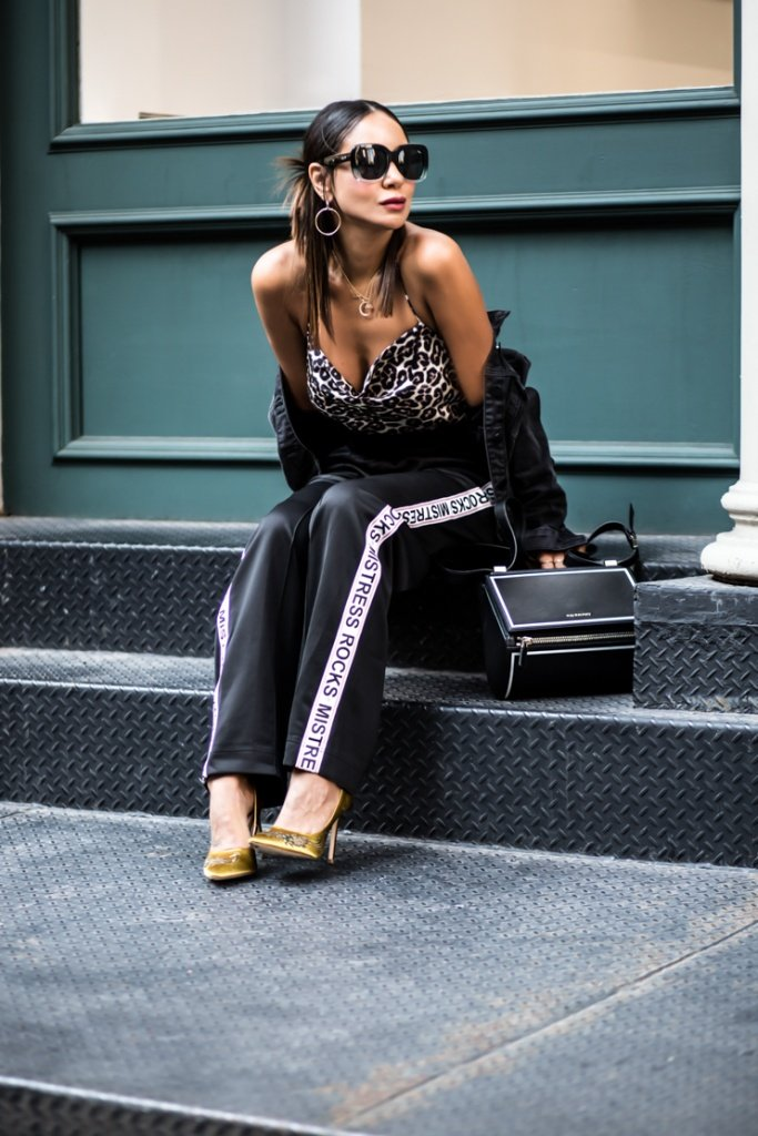 how to wear the trackpants trend, Cropped denim jackets, Zara heels, Fashion Blogger, Taye Hansberry Blog, Quay sunglasses, Kylie jenner Sunglasses