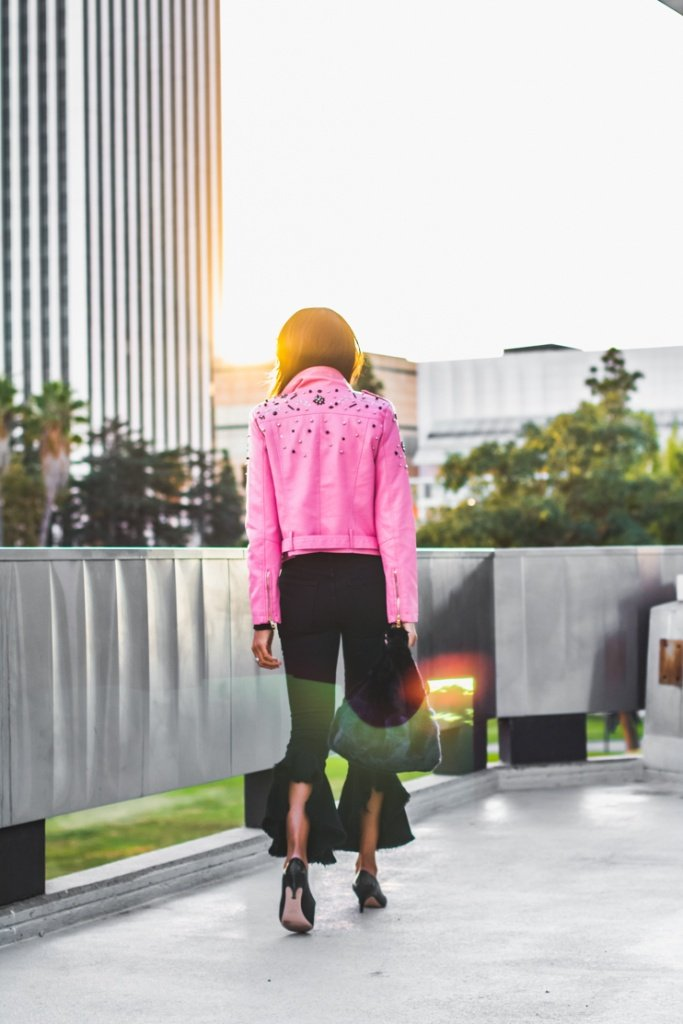 leather cropped jackets, embellished cropped moto jackets, pink storets jackets, citizens of humanity jeans