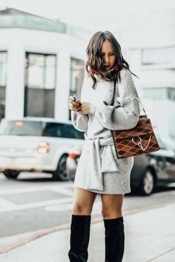 Tamara Mellon slouchy boots, Saylor sweater dress, Chloe Faye Bag, red earrings, Taye Hansberry blog, bloggers of color,  black bloggers, women of color in fashion,