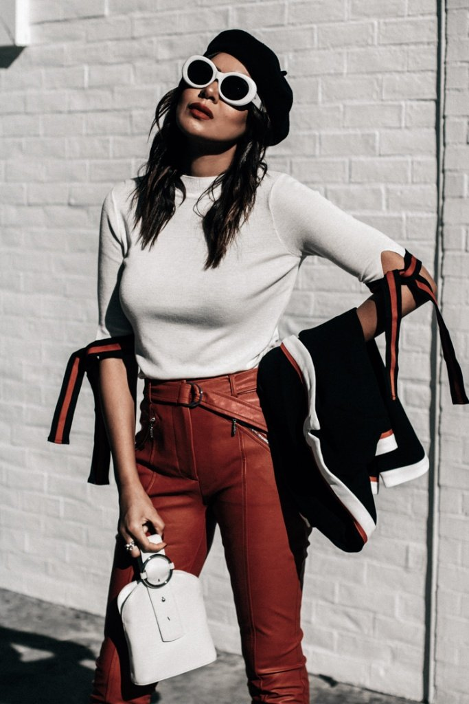 who what wear collection, guess leather pants, white sunglasses, fashion blogger, LA fashion blogger