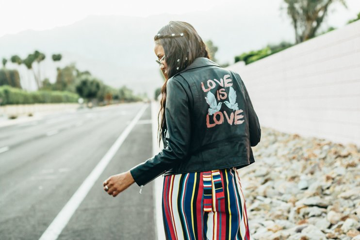rebecca miknoff leather jacket, Zendaya for Boohoo, Ash sneakers, Long extentions