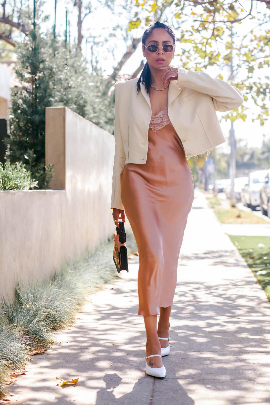 h&M cropped blazer, nude slip dress, kitten heels, Rayban Sunglasses