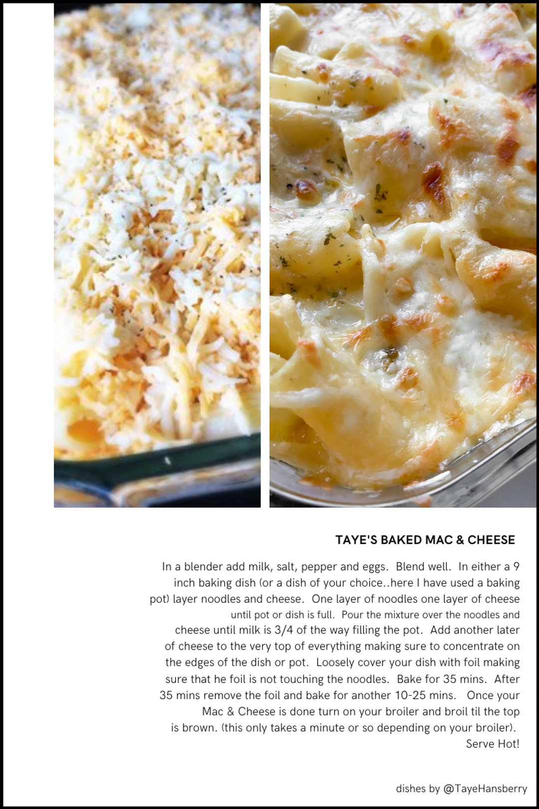 TAYE HANSBERRY'S baked mac and cheese recipe